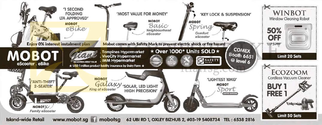 COMEX 2015 price list image brochure of Biovital Mobot EScooter, EBike, Window Cleaning Robot, Cordless Vacuum Cleaner
