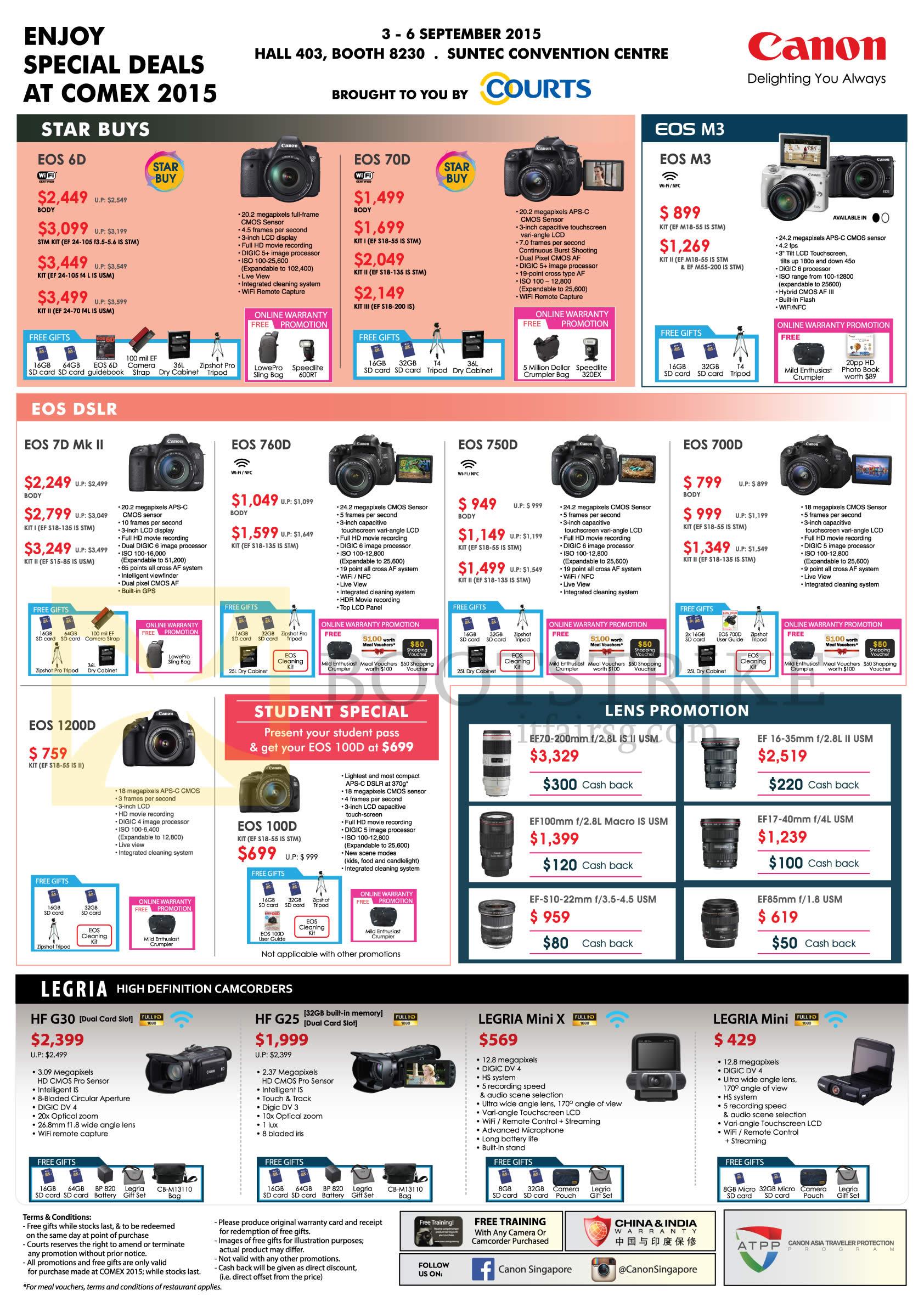 Canon Digital Cameras DSLR Lens Camcorder, EOS 6D, 70D, M3, 7D MK II, 760D, 750D, 700D, 1200D, 100D, HF G30, G25, Legria Mini X, Mini
