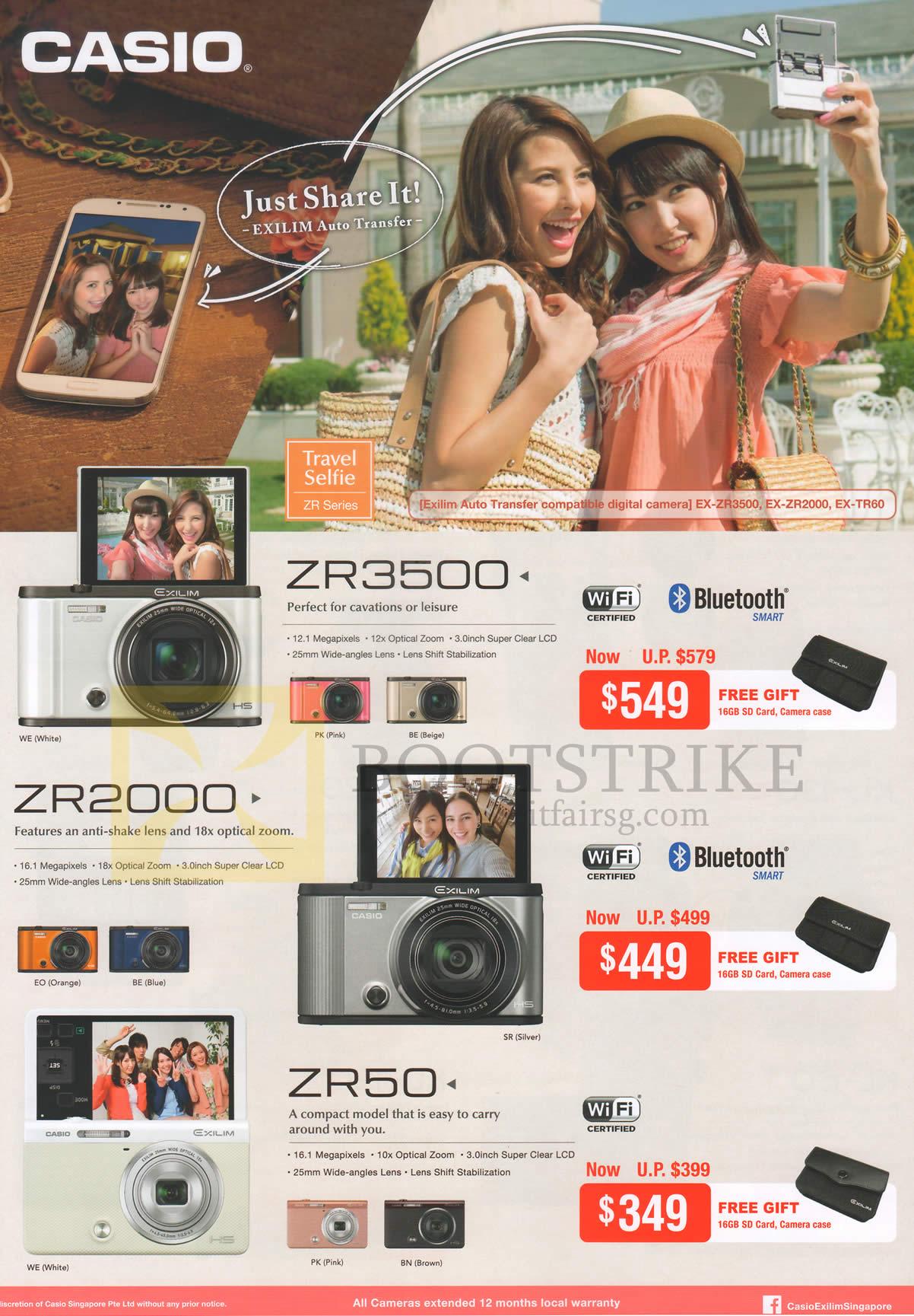 Casio Digital Cameras ZR3500, ZR2000, ZR50