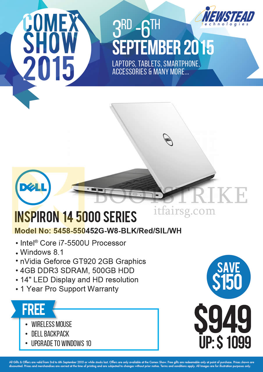 COMEX 2015 price list image brochure of Dell Newstead Notebook 14 5000 Series 5458-550452G-W8-BLK, Red, SIL, WH