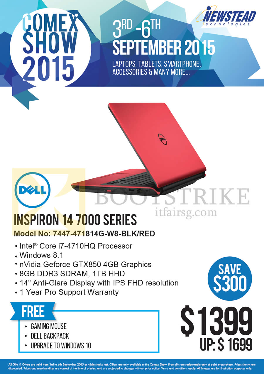 COMEX 2015 price list image brochure of Dell Newstead Notebook Inspiron 14 7000 Series 7447-471814G-W8-BLK, Red