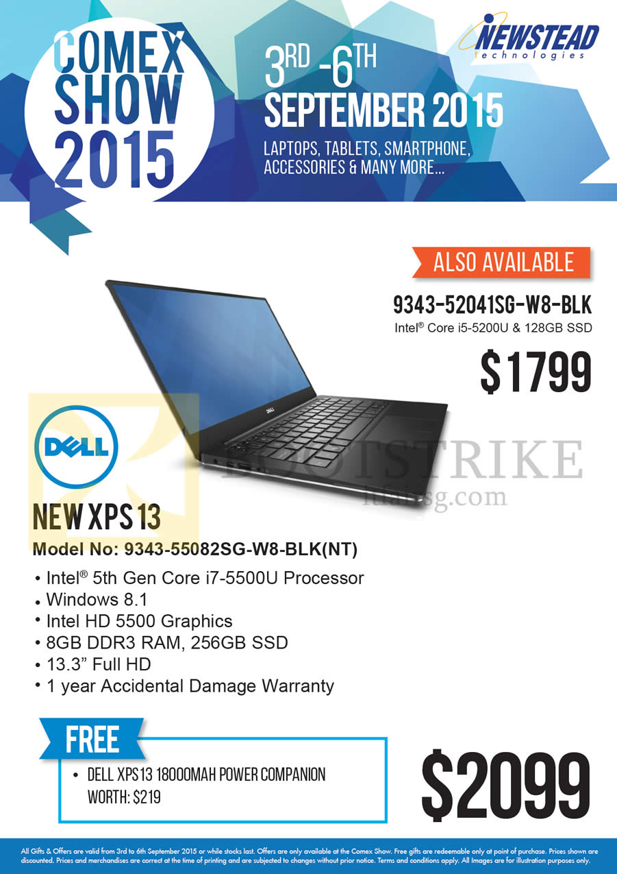 COMEX 2015 price list image brochure of Dell Newstead Notebook New XPS 13 9343-55082SG-W8-BLK NT, 9343-52041SG-W8-BLK