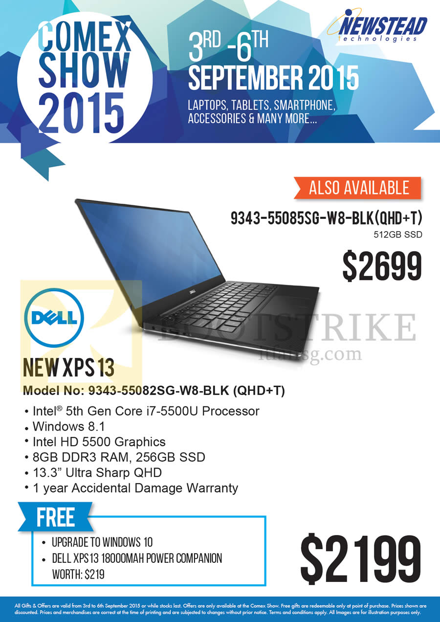 COMEX 2015 price list image brochure of Dell Newstead Notebooks New XPS13 9343-55082SG-W8-BLK, 9343-55085SG-W8-BLK