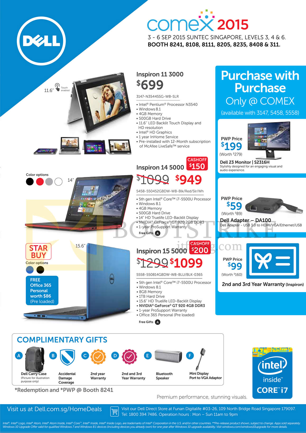 COMEX 2015 price list image brochure of Dell Notebooks, Complimentary Gifts, Purchase With Purchase, Inspiron 11 3000 3147-N35445SG-W8-SLR, 14 5000 5458-550452GBDW-W8, 15 5558-550814GBDW-W8-BLU-BLK-0365