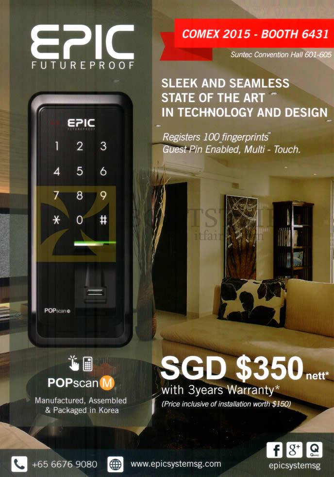COMEX 2015 price list image brochure of Epic Mechanical Doorlock POPscan M