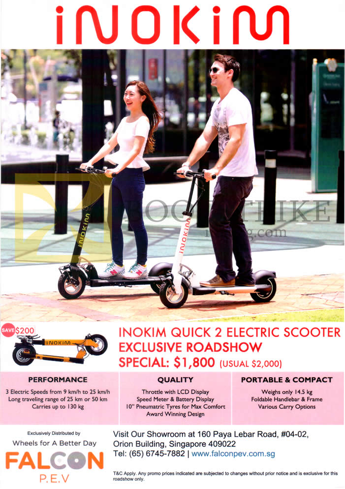 COMEX 2015 price list image brochure of Falcon P.E.V Electric Scooter Inokim Quick 2 Electric Scooter Features