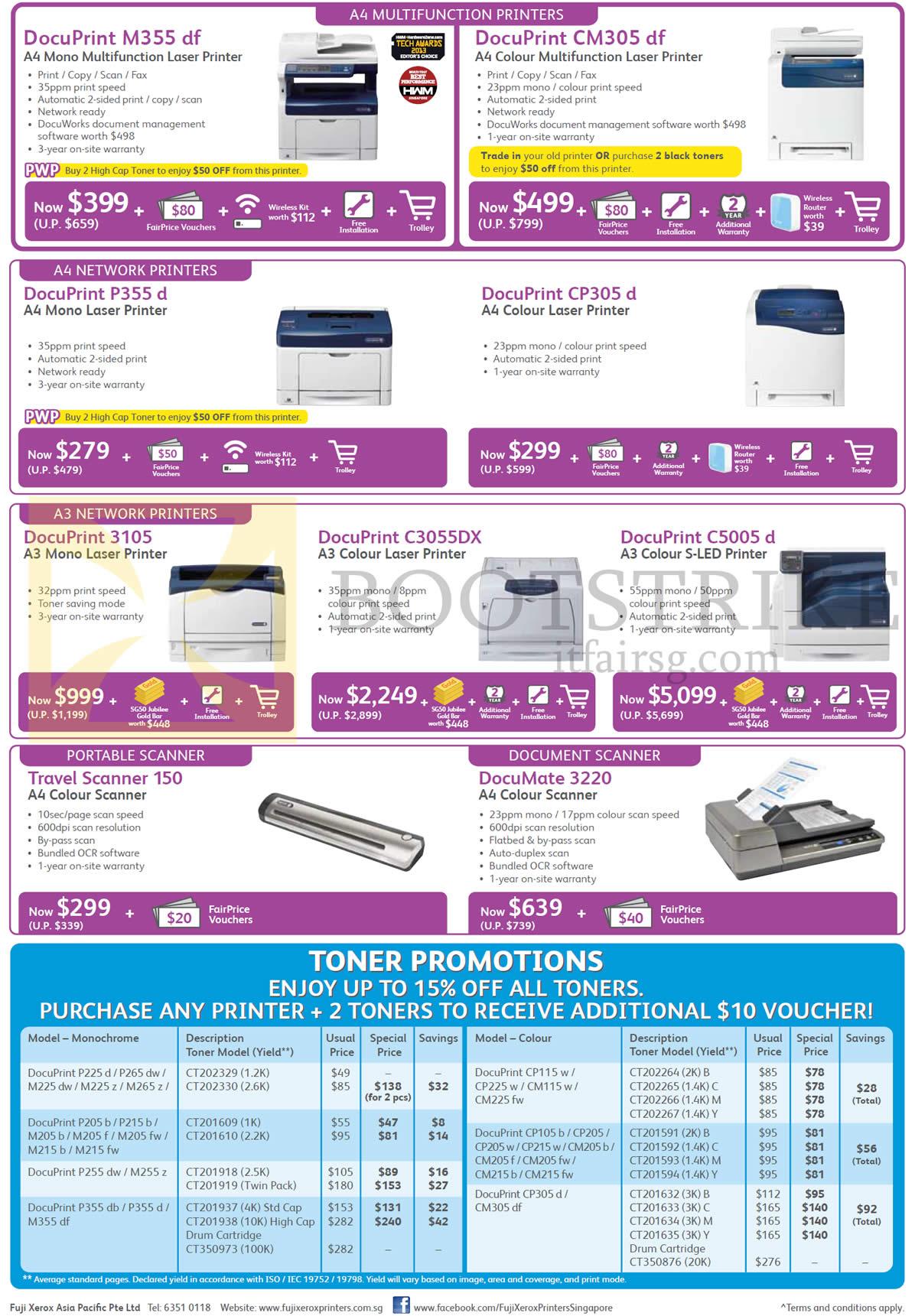 Fuji Xerox Printers, Scanner, M355df, CM305df, P355d, CP305d, 3105