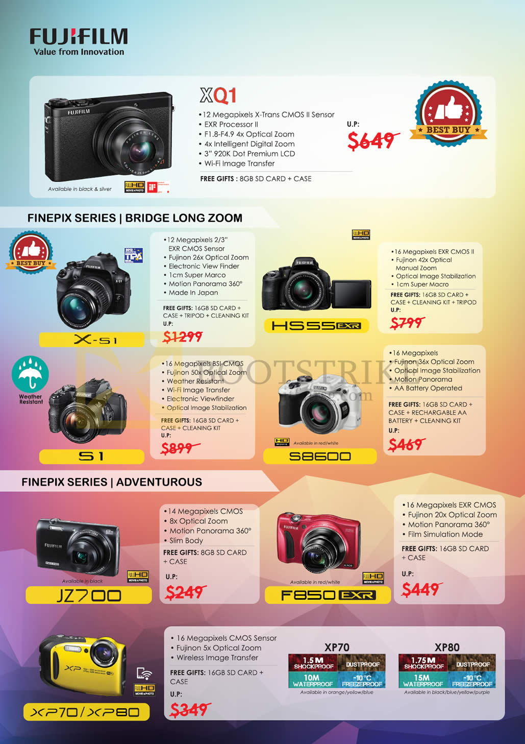 Fujifilm Digital Cameras (No Prices) XQ1, X-51, S1, HS55, S8600, JZ700, F850, XP70, XP80