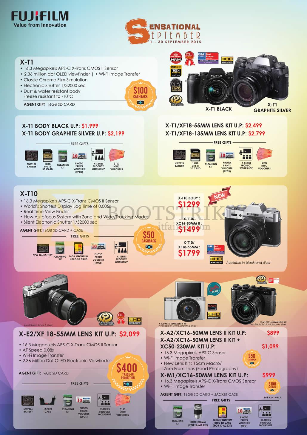 Fujifilm Digital Cameras X-T1, X-T10, X-E2, X-A2, XC-50, X-M1