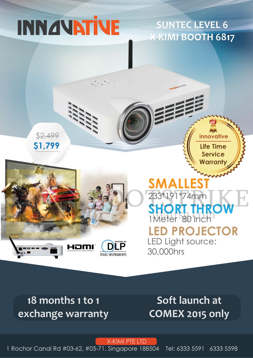 COMEX 2015 price list image brochure of Innovative X-Kimi LED Projector