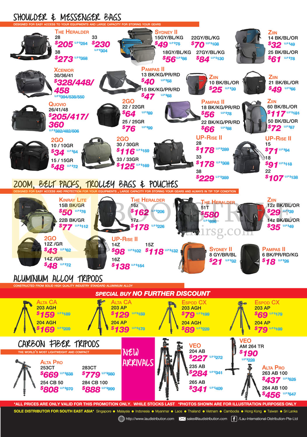 Lau Intl Shoulder, Messenger Bags, Zoom Belt Packs, Trolley Bags, Pouches, Aluminium Alloy Tripods, Carbon Fiber Tripods