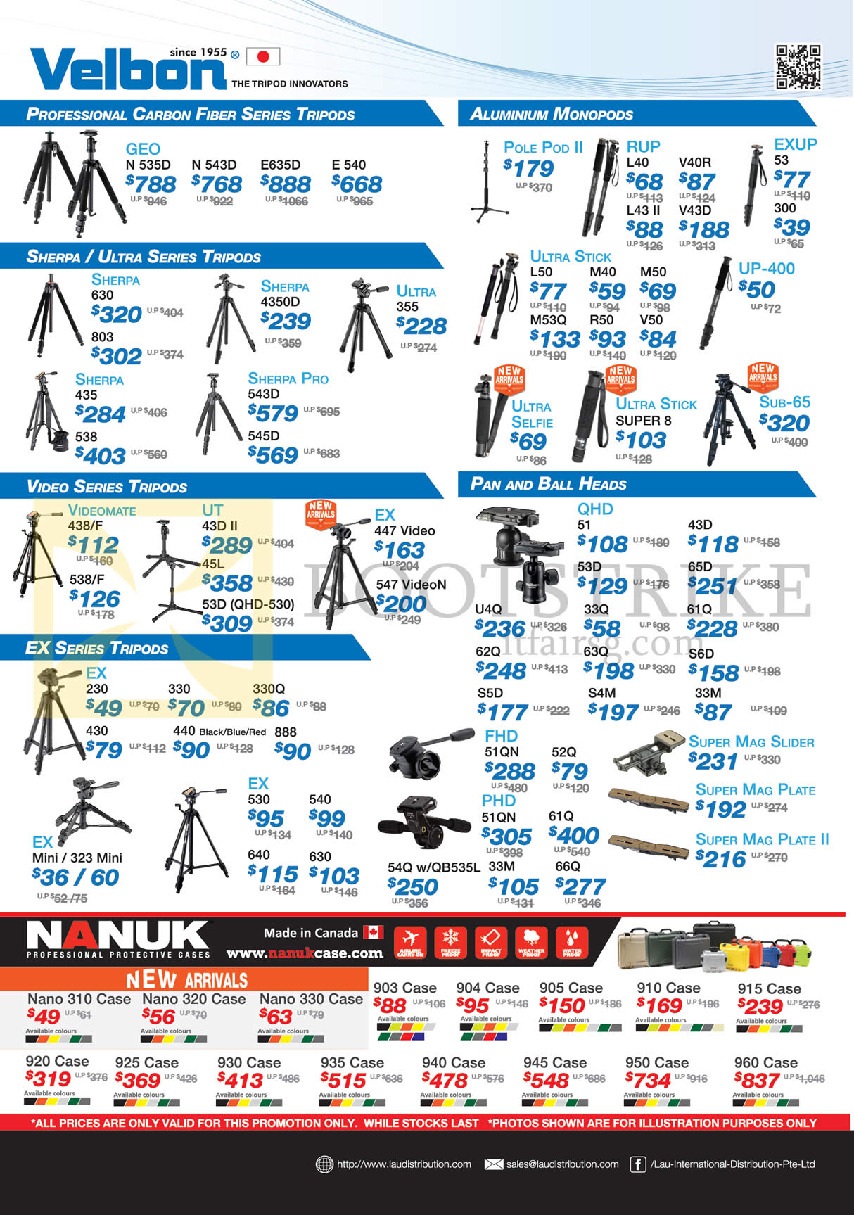 Lau Intl Tripods, Pan, Ball Heads, Cases, Velbon, Sherpa, Nanuk