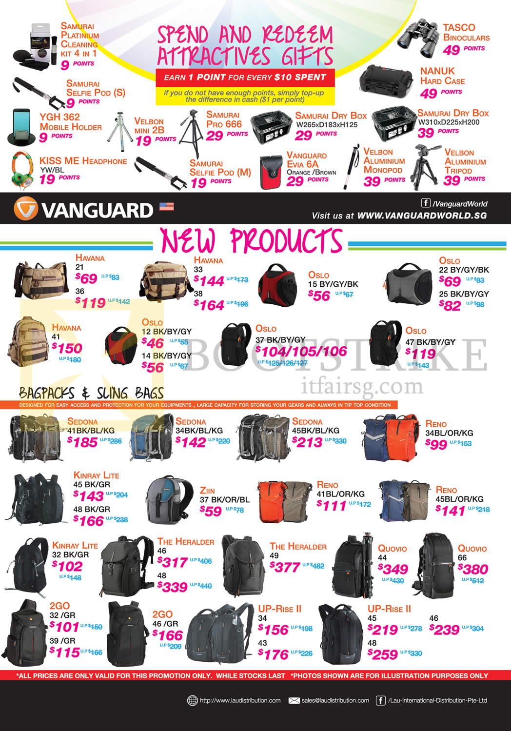 Lau Intl Vanguard Backpacks, Sling Bags, Accessories