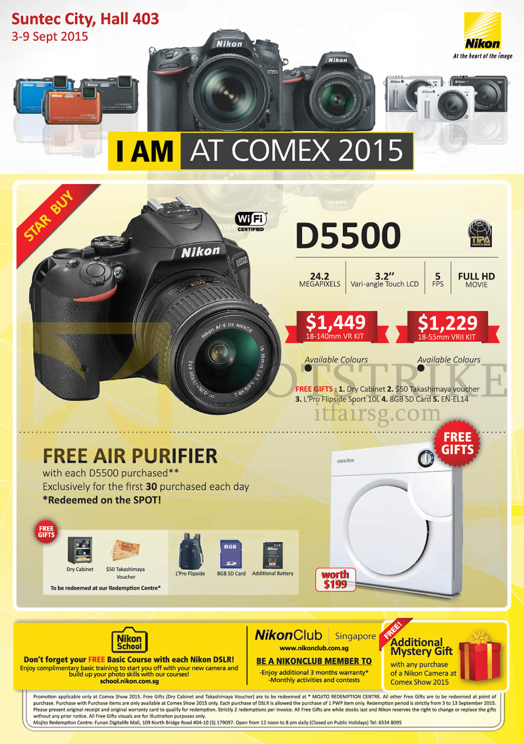 Nikon Digital Camera DSLR D5500, Free Air Purifier