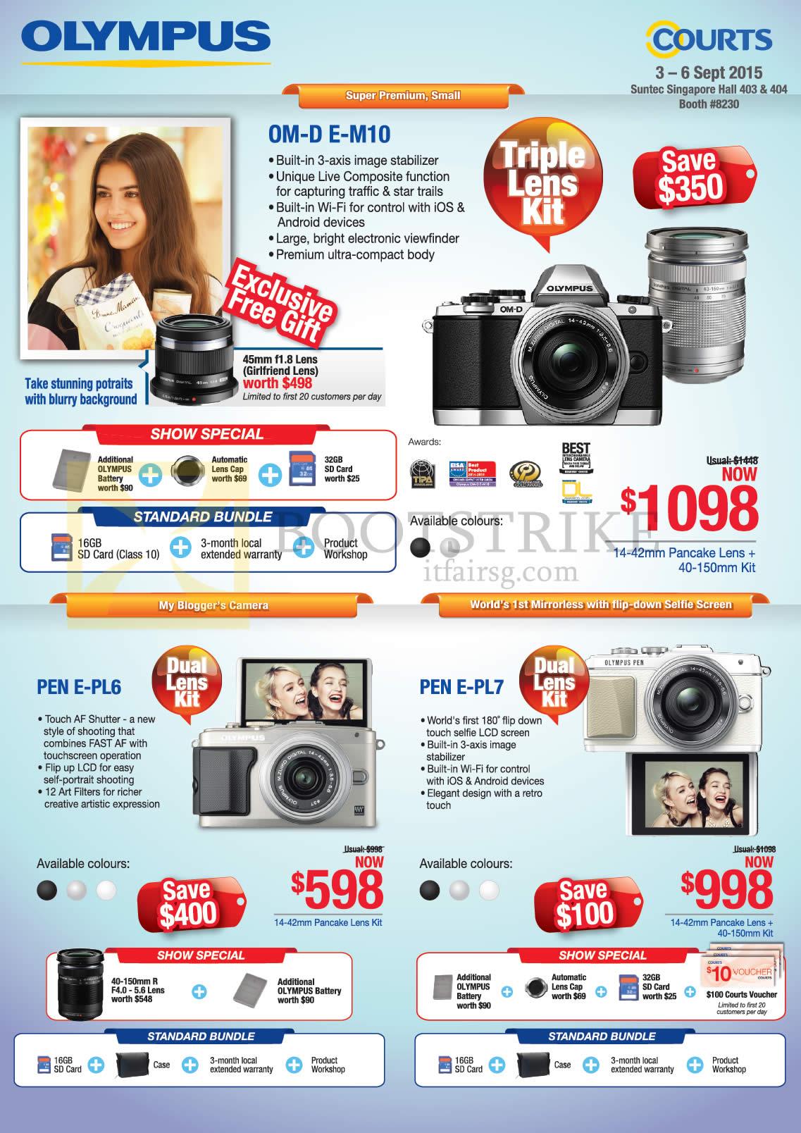 Olympus Digital Cameras OM-D E-M10, Pen E-PL6, Pen E-PL7