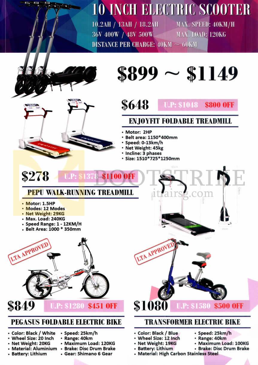 COMEX 2015 price list image brochure of PePu Electric Scooter, Walk-Running Treadmill, Electric Bike Features