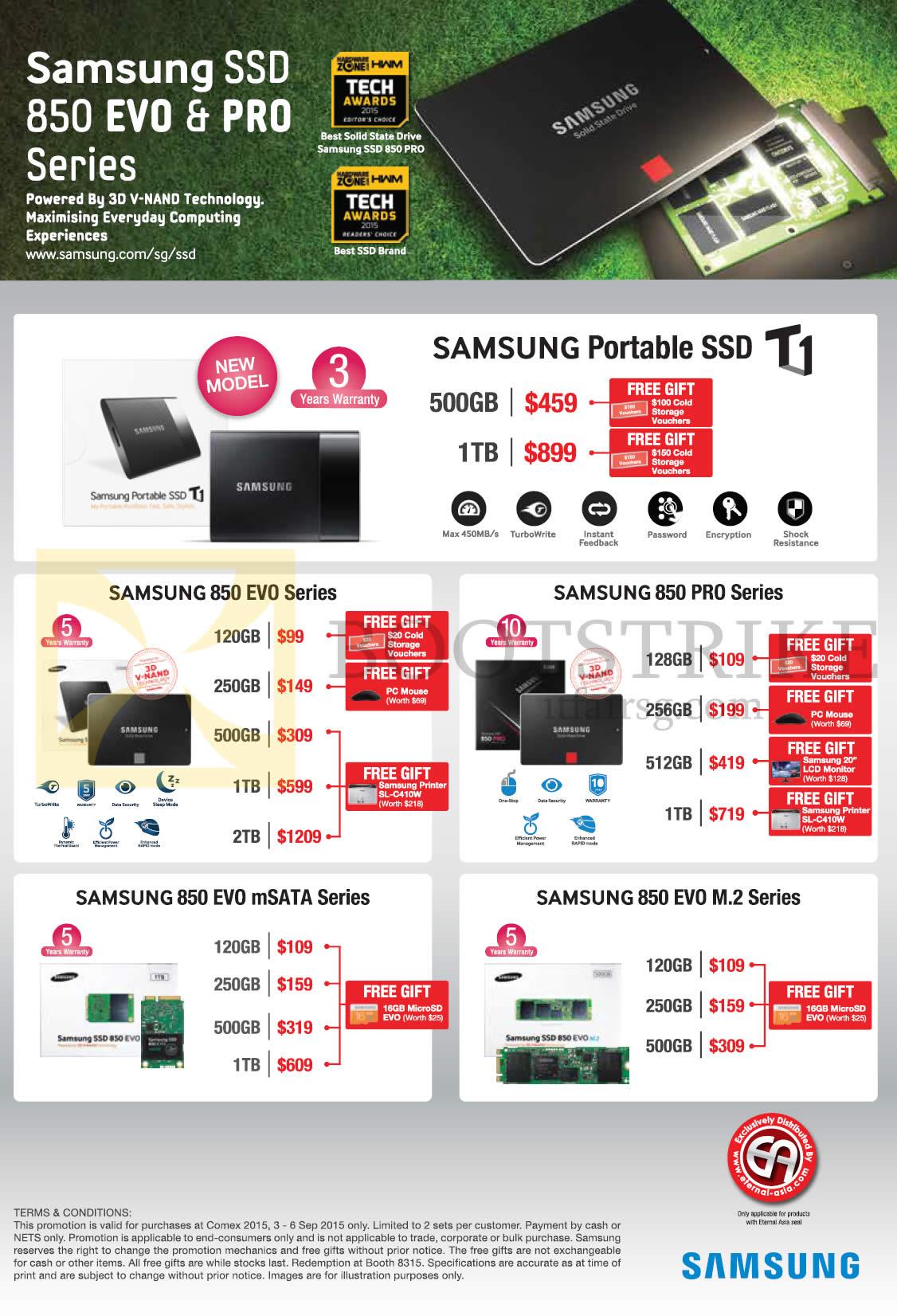 COMEX 2015 price list image brochure of Samsung SSD 850 EVO, PRO Series,  Portable. «