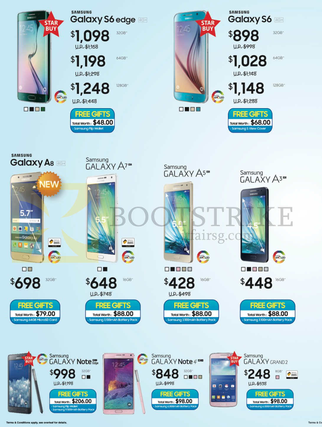 Samsung Smartphones Galaxy S6 Edge, S6, A8, A7, A5, A3 ...