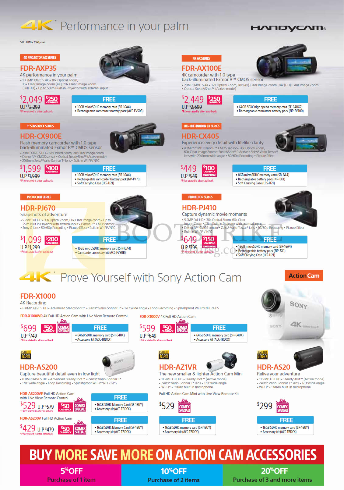Sony Camcorders Handycam Video FDR-AXP35, AX100E, CX-900E, CX405, PJ670, PJ410, X1000, AS200, AZ1VR, AS20