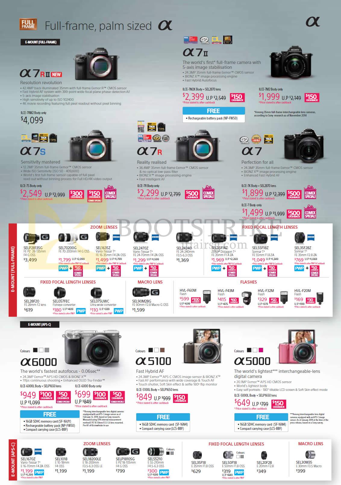 Sony Digital Cameras Alpha ILCE A7R, A7II, A7S, A7R, A7, A6000, A5100, A5000, Lenses Zoom Fixed Focal Macro Flashes