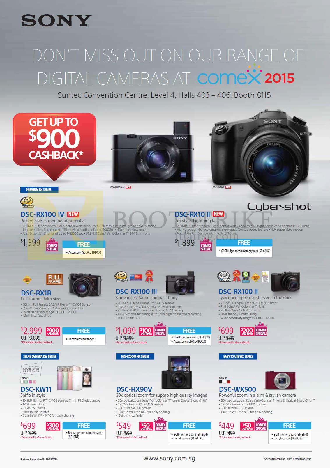 Sony Digital Cameras Cybershot DSC-RX100 IV, RX10 II, RX1R, RX100 III, RX100 II, KW11, HX90V, WX500