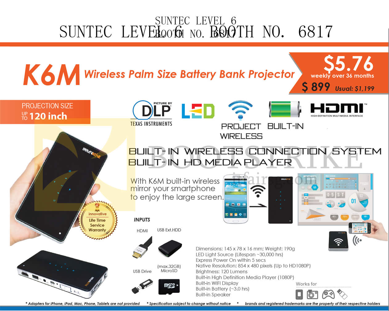 COMEX 2015 price list image brochure of X-Kimi Innovative K6M Wireless Palm Size Battery Bank Projector