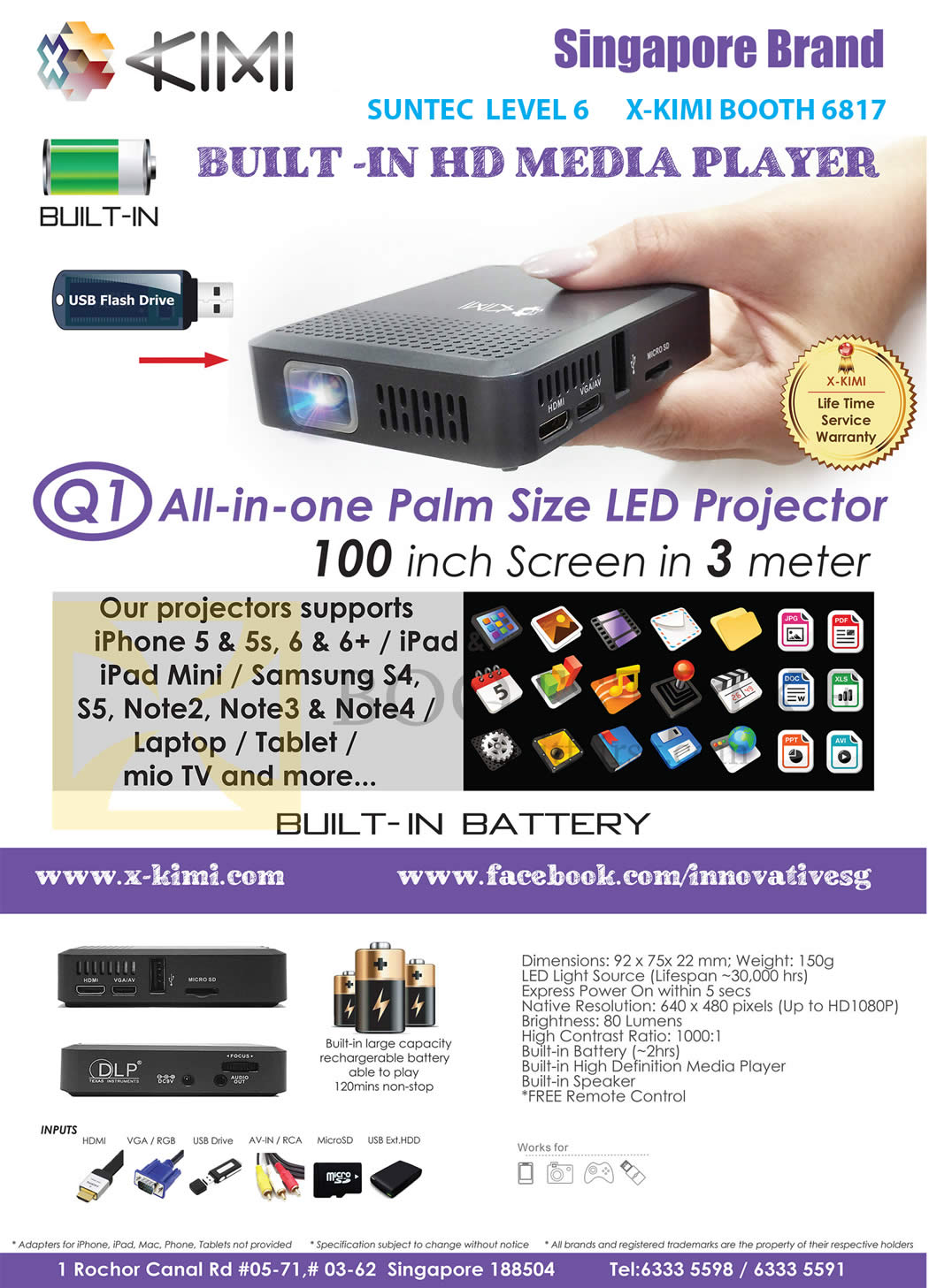 COMEX 2015 price list image brochure of X-Kimi Q1 AIO Palm Size LED Projecter