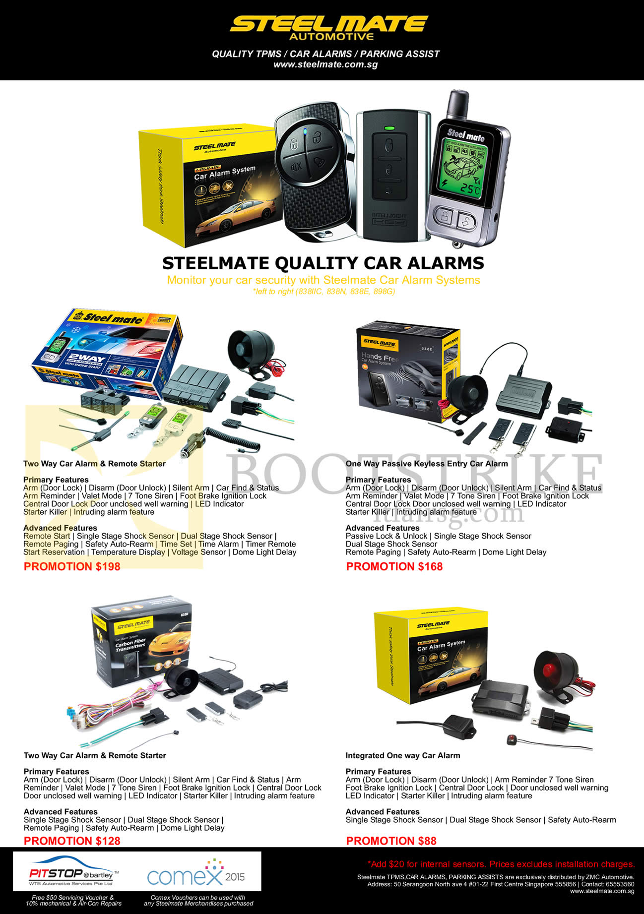 Zmc Steelmate Car Alarms Remote Starter One Way Two Product Comex 2015 Price List Image Brochure Of