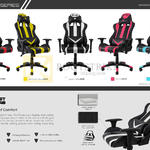 Secret Lab Gaming Seats Red, Bumblebee Yellow, Spectre White, Hot Pink, Aqua Blue