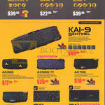 Gaming Headsets Molotov 3, Earphones Mark 5, Nuke 7, Gaming Keyboards KAI-9 Sentinel, AK300, AK550I, AK700, AK770I, MKA3, MKA7