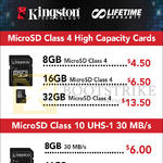 Kingston Memory Cards MicroSD Class 4, Class 10, 8GB, 16GB, 32GB