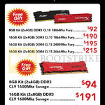 Kingston RAM HyperX 8GB, 16GB Kit