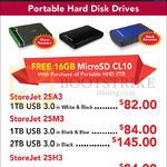 Transcend External Storage Drives StoreJet 25A3, 25M3, 25H3, 1TB, 2TB