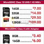 Transcend MicroSDHC Class 4, 10 UHS-1 8GB, 16GB, 32GB, 64GB, 128GB