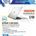 Newstead Notebook Inspiron 11 3000 Series 3147-N35345SG-W8-SLR