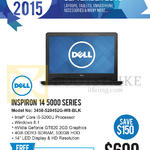 Newstead Notebook Inspiron 14 5000 Series 3458-520452G-W8-BLK