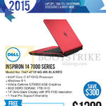 Newstead Notebook Inspiron 14 7000 Series 7447-471814G-W8-BLK, Red