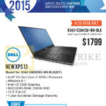 Newstead Notebook New XPS 13 9343-55082SG-W8-BLK NT, 9343-52041SG-W8-BLK