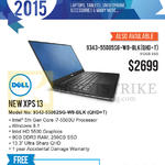 Newstead Notebooks New XPS13 9343-55082SG-W8-BLK, 9343-55085SG-W8-BLK