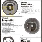 IRobot Vacuum Cleaners, Braava 380T, Roomba 630, Roomba 880, Mirra 530, LightAir IonFlow Technology