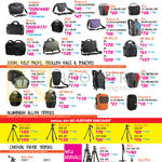 Shoulder, Messenger Bags, Zoom Belt Packs, Trolley Bags, Pouches, Aluminium Alloy Tripods, Carbon Fiber Tripods