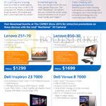 Lenovo Z51-70 Notebook, Dell Inspiron 23 7000 Desktop PC, Dell Venue 8 7000 Tablet, B50-30 AIO Desktop PC