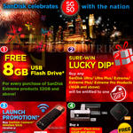 Free 8GB USB Flash Drive, Sure-Win Lucky Dip, SanDisk Connect Wireless Stick, Free Nakamichi Earphone