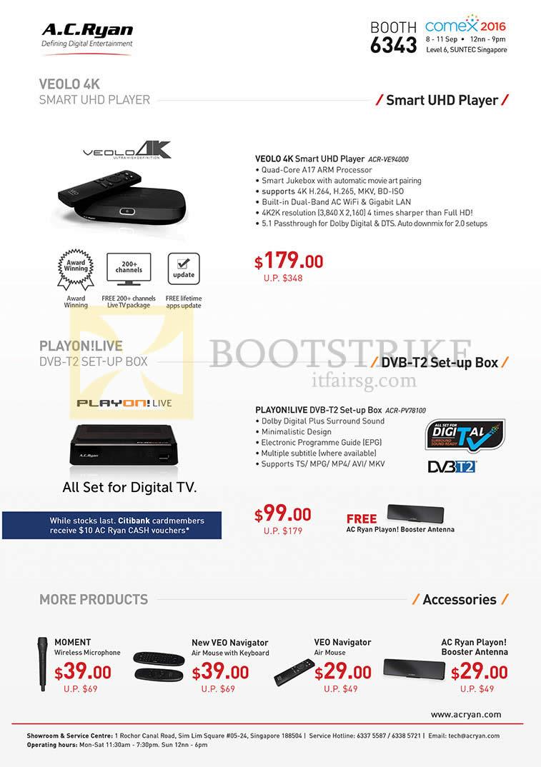 COMEX 2016 price list image brochure of AC Ryan Veolo 4K Media Player ACR-VE94000, PlayOn Live DVB-T2 Set-Top Box ACR-PV78100, Accessories