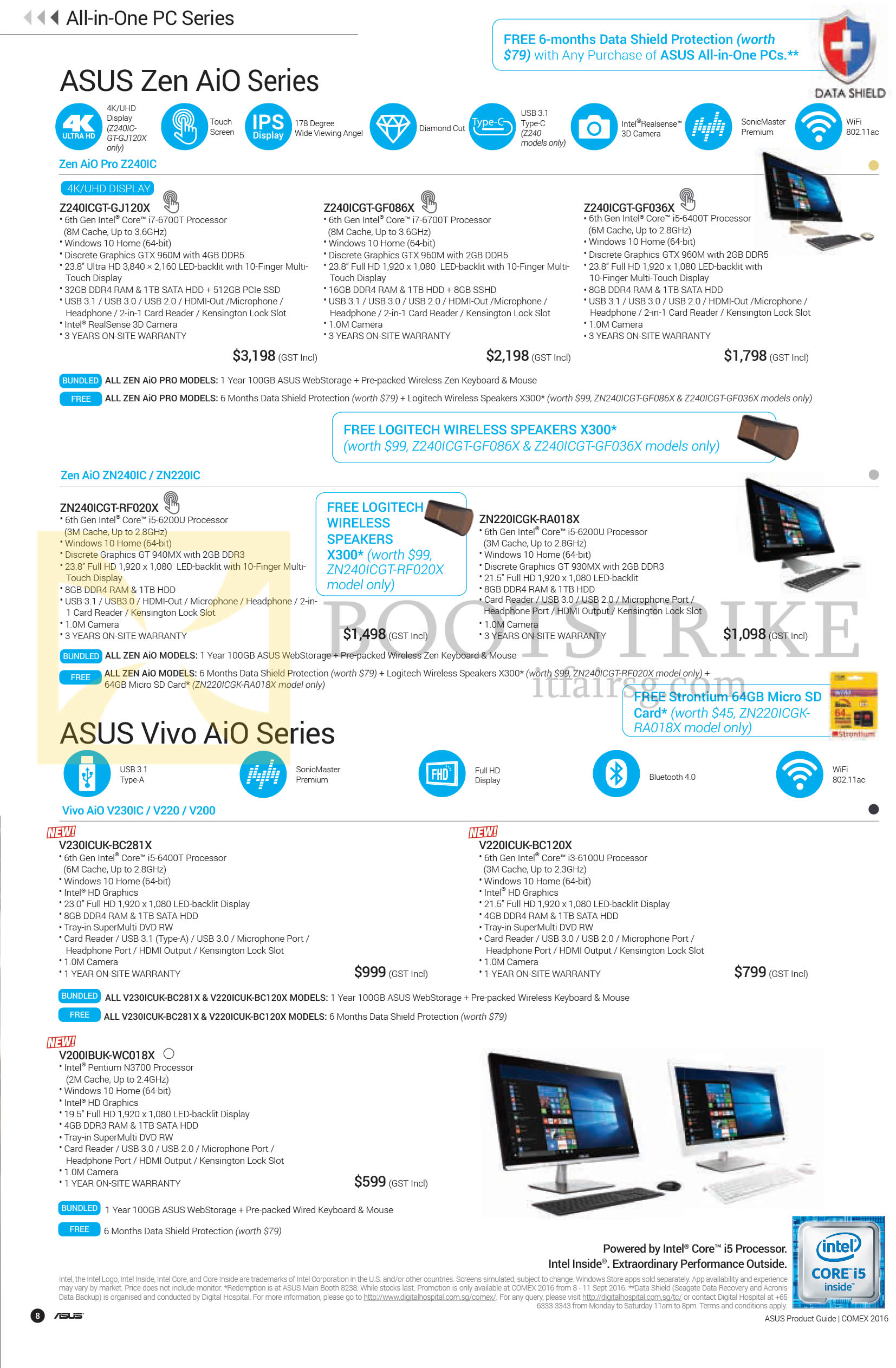 COMEX 2016 price list image brochure of ASUS AIO Desktop PCs Zen AIO Pro Z240IC, ZN240IC, ZN220IC, Vivo AIO V230IC, V220, V200 Series