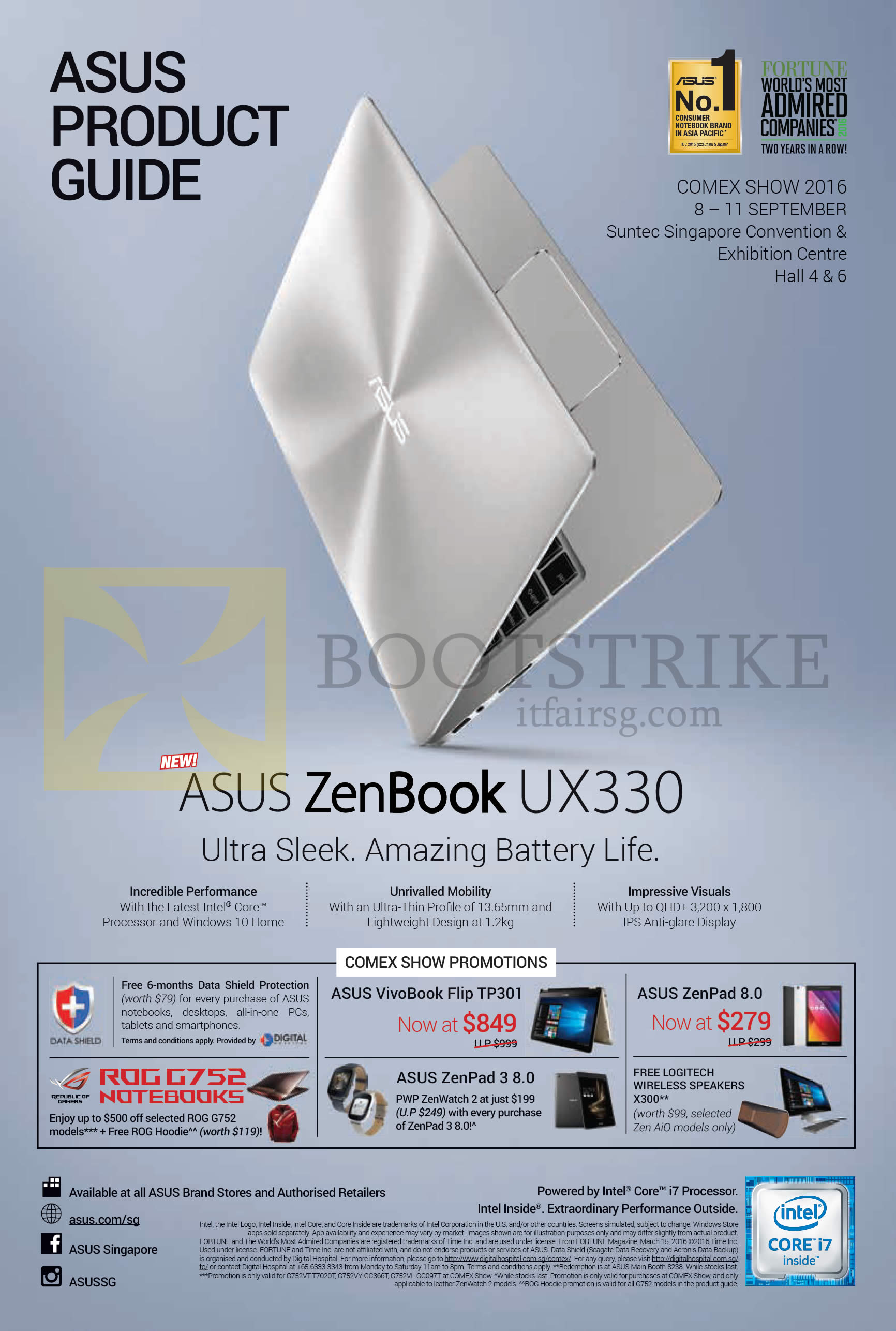 COMEX 2016 price list image brochure of ASUS Comex Show Promotions, Notebook Zenbook UX330 Series