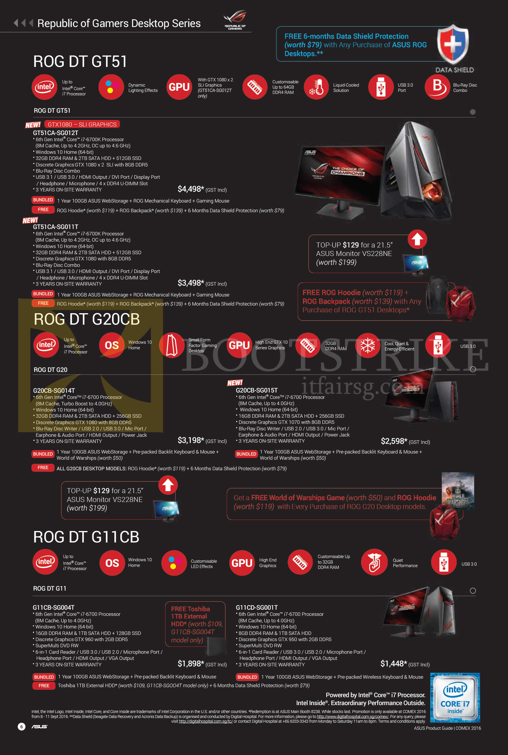 COMEX 2016 price list image brochure of ASUS Desktop PCs ROG DT GT51, DT G20CB, DT G11CB Series