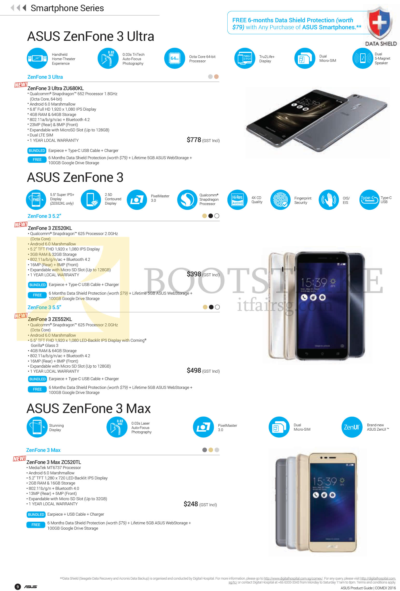 COMEX 2016 price list image brochure of ASUS Mobile SmartPhones Zenfone 3 Ultra, 3, 3 Max