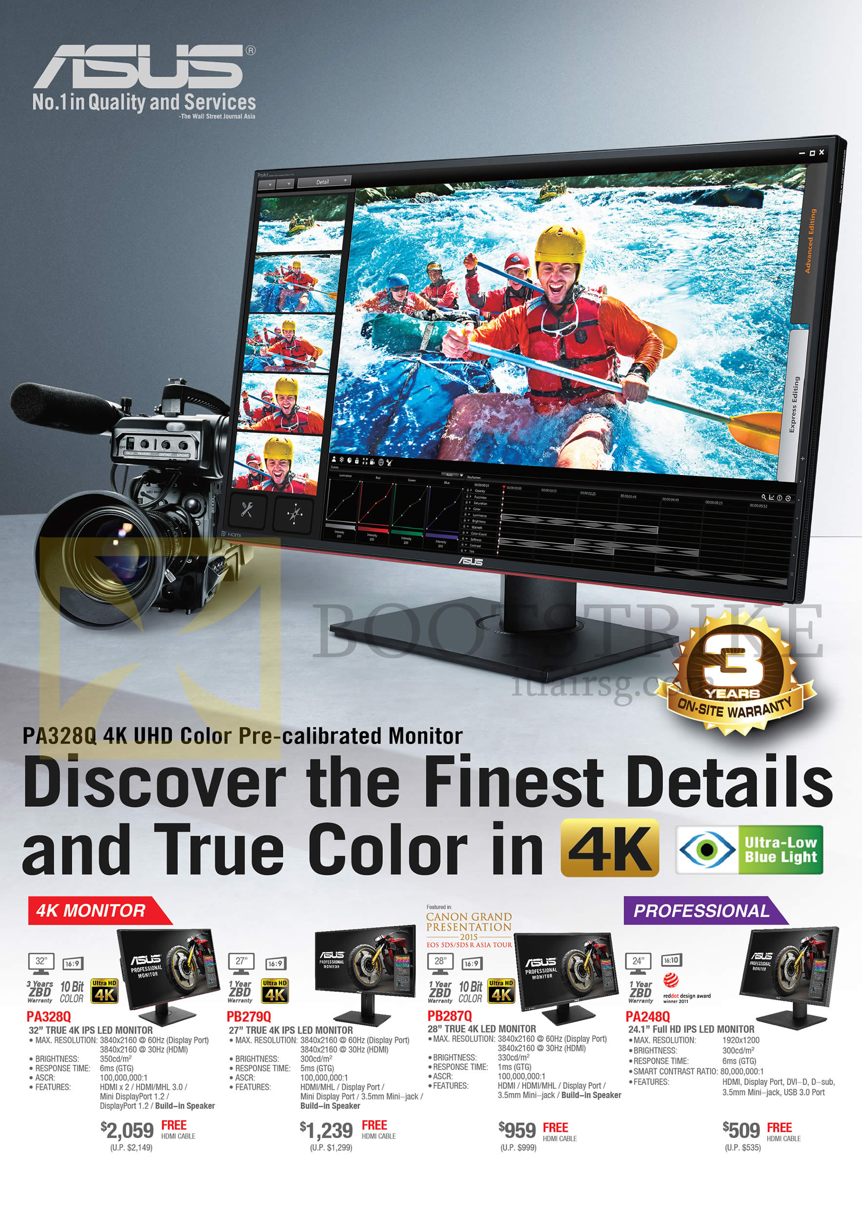 COMEX 2016 price list image brochure of ASUS Monitors 4K PA328Q, PB279Q, PB287Q, PA248Q