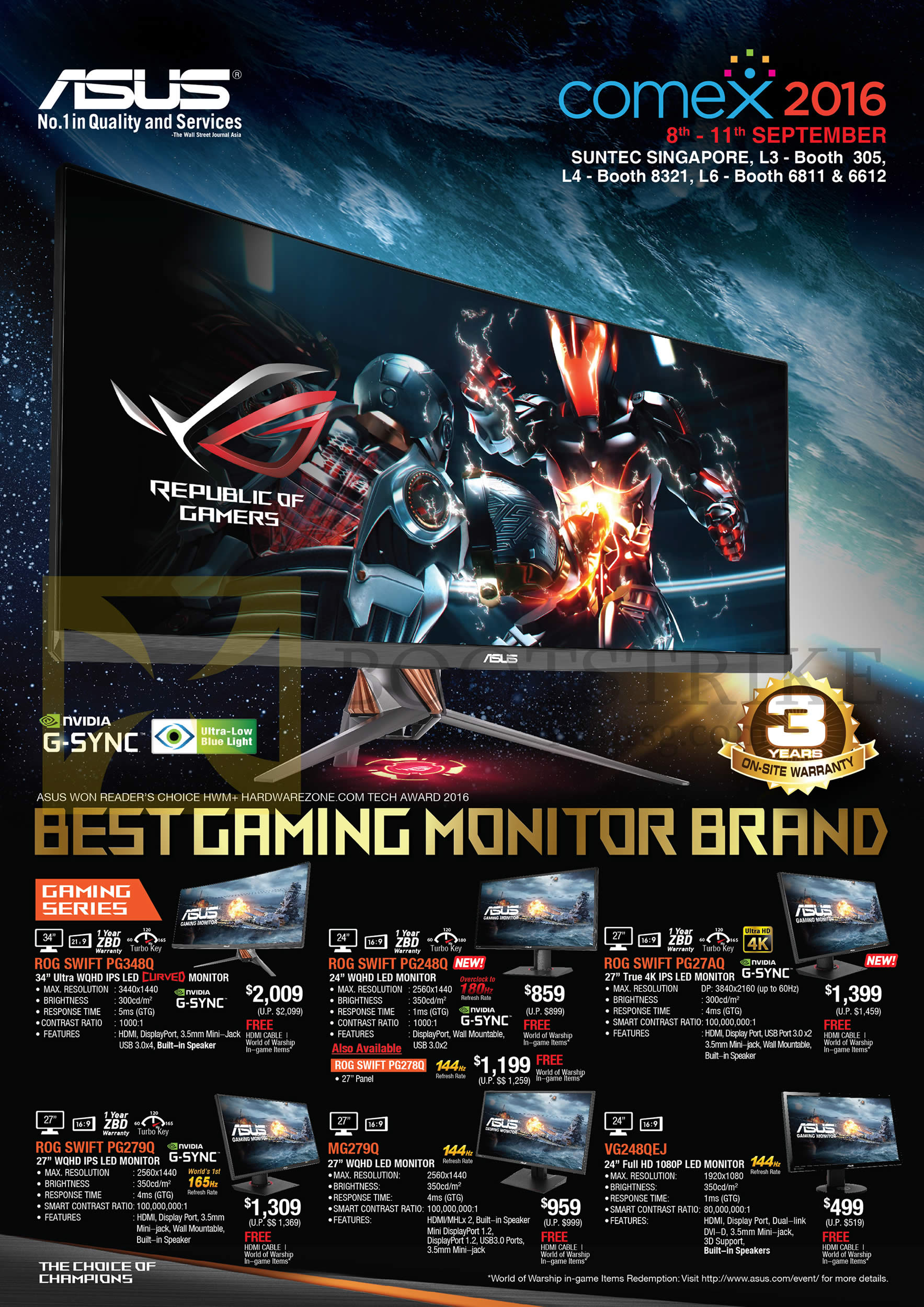 COMEX 2016 price list image brochure of ASUS Monitors Gaming ROG PG348Q, PG248Q, PG27AQ, PG279Q, MG279Q, VG248QEJ